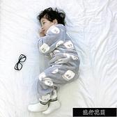 現貨秋冬兒童連身睡衣法蘭絨寶寶防踢防著涼嬰兒睡袋珊瑚絨加厚家居服【新年快樂】