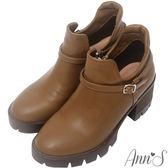Ann'S時髦妹子-顯瘦側挖空V口厚底粗跟短靴-棕