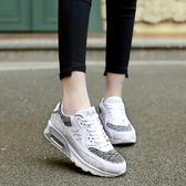 2018新款氣墊休閑鞋女生帆布鞋學院風運動鞋韓版白色跑步鞋單鞋女 QG422『愛尚生活館』
