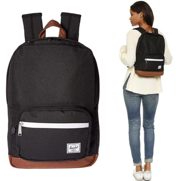 Hsin 85折 現貨 Herschel Pop Quiz 中型 黑色 帆布 皮革底 手機 筆電 多夾層 實用 防潑水 女生 後背包