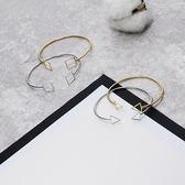 極簡風鏤空三角幾何造型開口手環手?女簡約