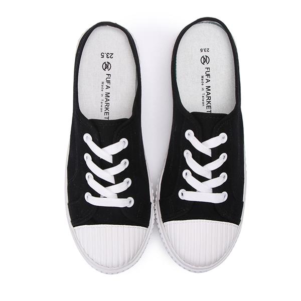 【富發牌】圓頭帆布厚底休閒穆勒鞋-黑/白/藍  1BP37