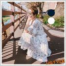 連身裙 印花雪紡荷葉短袖洋裝MR9066...