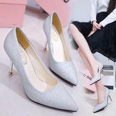 高跟鞋女細跟亮片婚鞋尖頭淺口百搭單鞋女鞋子 格蘭小舖