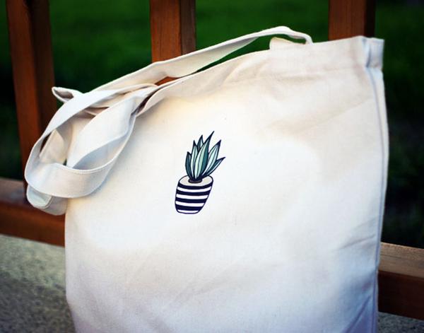【帆布包】純棉 文藝迷你仙人掌印花 帆布袋 側背包 肩背包/拉鍊/白色