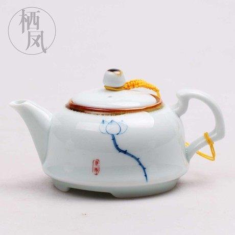 陶瓷 手工繪畫荷花系列茶壺