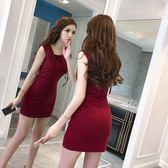 洋裝 連身裙 長洋裝夜場女款裙子女夏裝2019新款小個子無袖性感收腰顯瘦包臀連衣裙