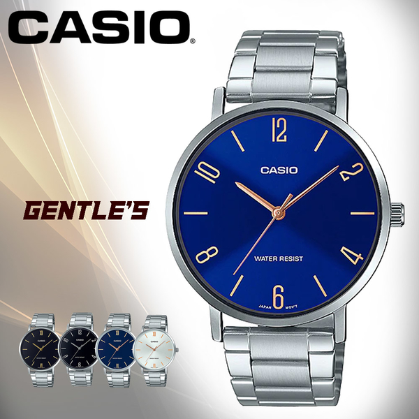 CASIO手錶專賣店 MTP-VT01D-2B2 簡約時尚男錶 不鏽鋼錶帶 日常生活防水 MTP-VT01D