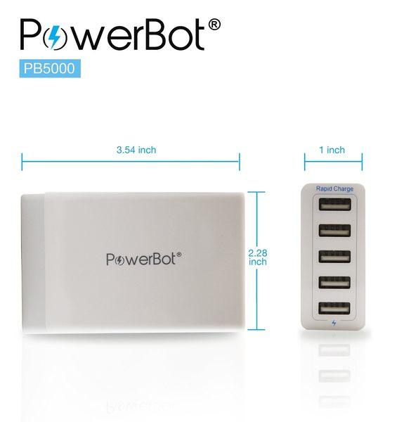 美國聲霸PowerBot PB5000 5埠USB 智慧型快速充電器 40W 8A