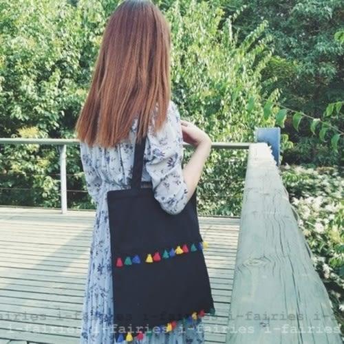 5天出貨★帆布包 雙線流蘇車縫拉鍊式側肩背手提袋★ifairies【30563】