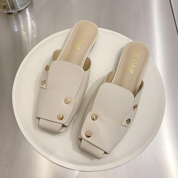穆勒鞋 網紅拖鞋2021年新款女ins潮英倫風平底穆勒鞋夏季外穿防滑涼拖鞋 小天使