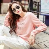 現貨粉色L  M 長袖打底衫22415薄款和加絨秋冬純棉刺繡圓領衛衣女外套胖胖唯衣