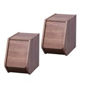 (組)日本IRIS木質可掀門堆疊櫃W20-深木色(二入)