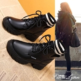 2020年新款秋款馬丁秋鞋百搭內增高小短靴子女鞋秋冬季英倫風厚底 范思蓮恩