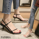 PAPORA細版顯白跟涼鞋細跟鞋KK7133黑/白