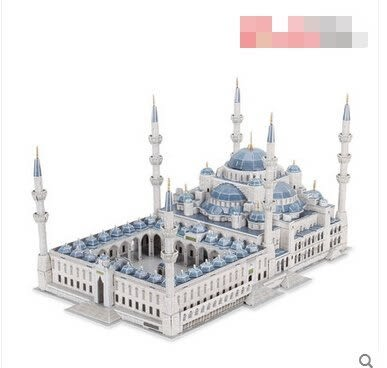3D立體拼圖建築模型 藍色清真寺紙模型