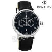 BENTLEY 賓利 / BL1690-20011 / 藍寶石水晶玻璃 數字時標 日期 日本機芯 德國製造 真皮手錶 黑色 42mm