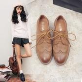 牛津鞋 復古英倫學院風ins小皮鞋布洛克加絨中跟粗跟單鞋女 格蘭小舖