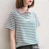 孜索2019夏季新款綠粉條紋T恤女寬鬆百搭Polo領短袖韓版學生上衣  【PinkQ】