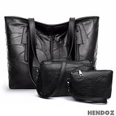 多件組-HENDOZ.羊皮MIX皮革托特包三件組(黑色)A1079-1