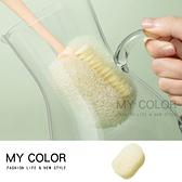 清潔刷 奶瓶刷 杯刷 海綿刷 長柄杯刷 菜瓜布 替換刷 尼龍刷 鬃毛 二合一可替換杯刷【P516】MY COLOR