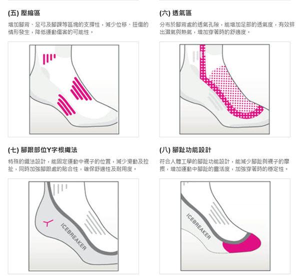 Icebreaker 103709-401灰藍 女中筒薄毛圈健行襪Hike 美麗諾羊毛襪