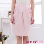 Red House 蕾赫斯-素面蝴蝶結打摺裙(粉色)
