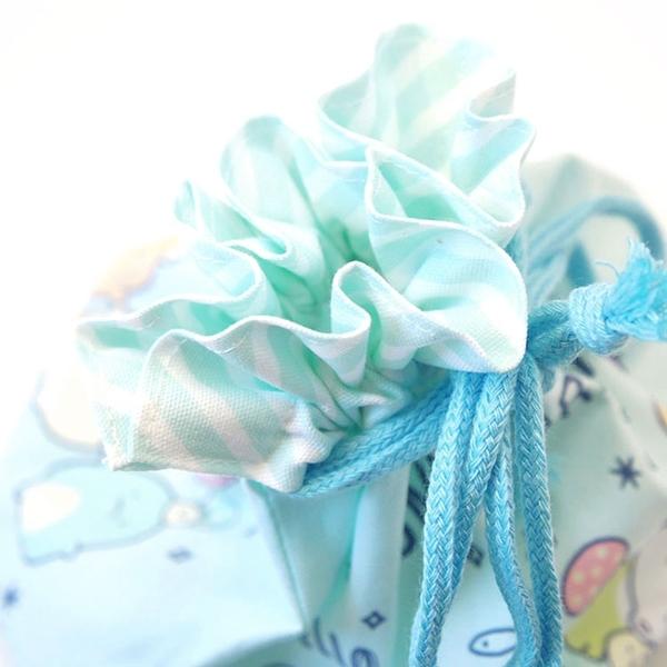 San-X 角落生物 棉質附底寬底便當束口袋 集合 藍綠_XS77899