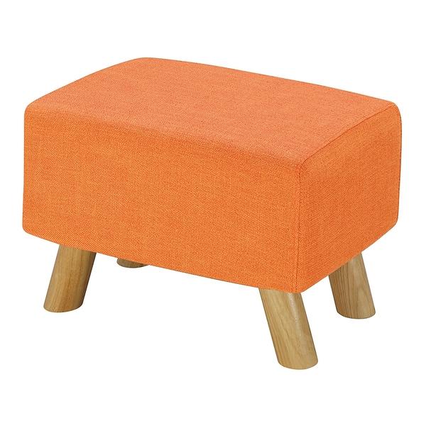 【森可家居】奈德橘色長方凳 8ZX560-4 麻布椅凳 實木腳 北歐風