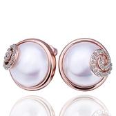 耳環 純銀鍍18K金 珍珠-鑲鑽優雅生日情人節禮物女飾品73cg248[時尚巴黎]