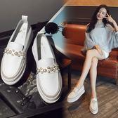 白色樂福鞋女夏2018新款潮單鞋百搭正韓厚底內增高一腳蹬女鞋