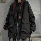 工裝外套 秋冬季年韓版ins港風百搭工裝夾克寬鬆黑色上衣外套女潮 芊墨左岸