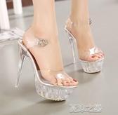偽娘鞋-大碼水晶跟超高跟涼鞋偽娘變裝情趣走秀模特情趣防水臺女鞋 夜店 夏沫之戀