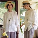 極舒適高端砂洗全亞麻白色襯衫長袖立領/設計家 T20412