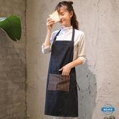 圍裙牛仔圍裙工作圍裙正韓時尚廚房做飯圍裙花店咖啡店圍腰男女