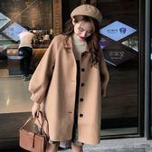 2018新款秋冬女裝韓版中長款夾棉加厚呢子大衣寬鬆赫本風毛呢外套  西城故事