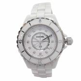 CHANEL 香奈兒 白色陶瓷鑲12P鑽石英腕錶 J12 H1628 33mm【二手名牌 BRAND OFF】