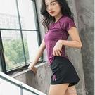 運動套裝女夏2020新款時尚短袖短褲跑步健身瑜伽服顯瘦休閑兩件套 布衣潮人