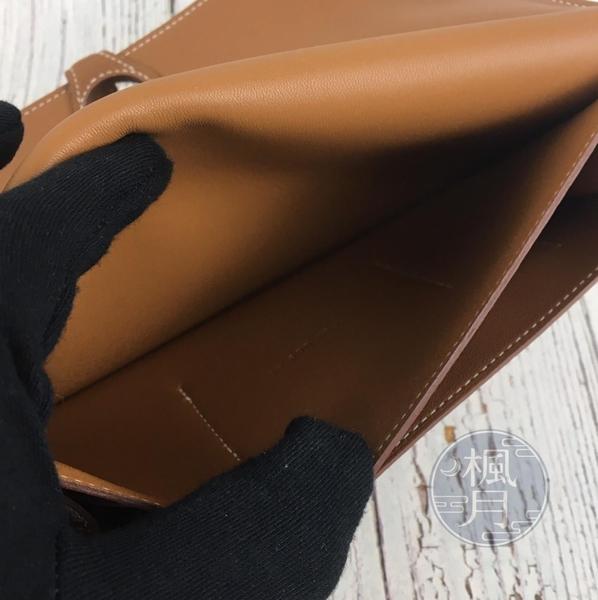 BRAND楓月 HERMES 愛馬仕 T刻 焦糖 DOGON 長夾 二折 錢包 皮夾 錢夾 手拿包 大空間
