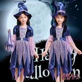 萬圣節兒童女巫服裝女童巫婆cos化裝舞會精靈公主裙巫女裝扮衣服CM1432【花貓女王】