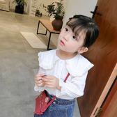 女童襯衫長袖韓版2018新款洋氣兒童寶寶襯衣上衣白色荷葉領娃娃衫