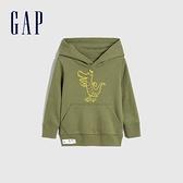 Gap男幼童 碳素軟磨系列 法式圈織童趣印花連帽休閒上衣 861014-軍綠色