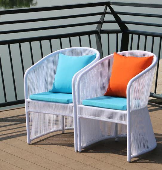 【南洋風休閒傢俱】戶外休閒桌椅系列-線條編藤餐桌椅組 線條編藤沙發+餐桌 一桌二椅組 灣款