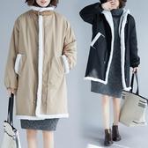 大尺碼羊羔絨內膽棉衣秋冬新款文藝范加厚抽繩高腰長袖棉服外套女潮