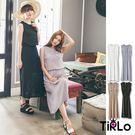 洋裝-Tirlo-微透膚雙口袋鈕扣雪紡長...