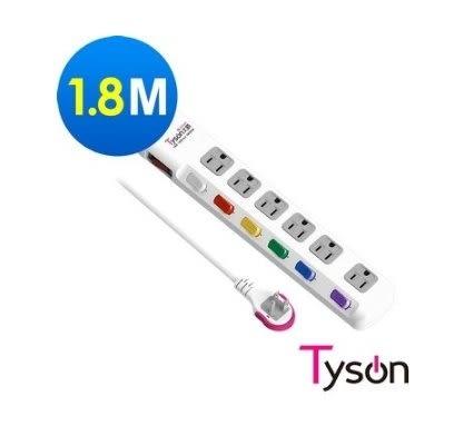 新竹【超人3C】Tyson太順電業 TS-376AS 3孔7切6座延長線 電腦插座(拉環扁插) 1.8米