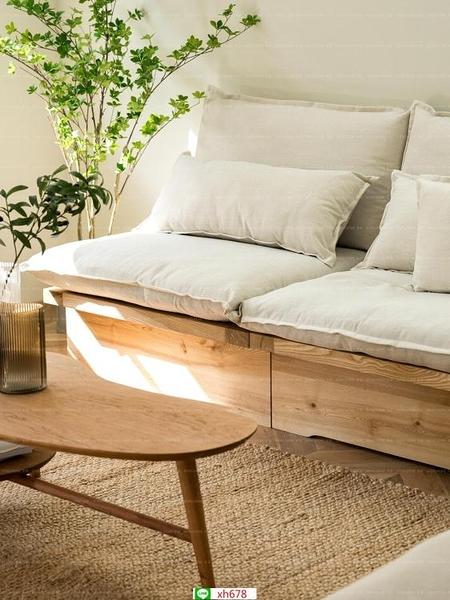 北歐日式原木風實木沙發民宿客廳單一二三人小沙發侘寂風組合卡座【頁面價格是訂金價格】