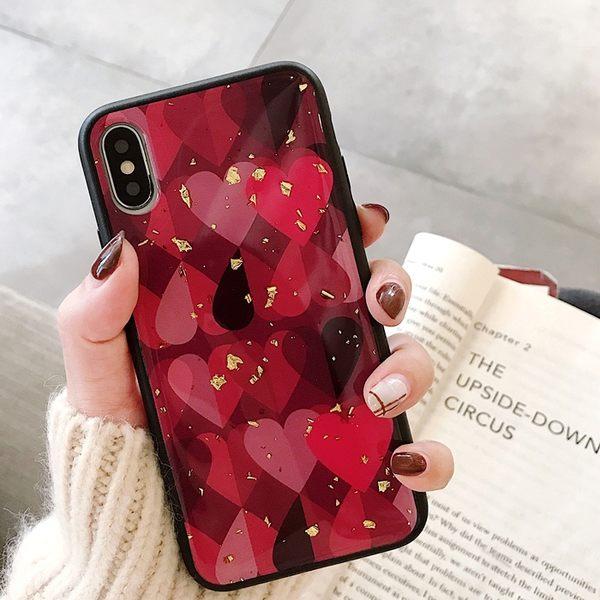 【SZ25】紅色愛心金箔手機殼 iphone xr手機殼 iphone 8 plus手機殼 iphone7plus手機殼 iphone xs max 手機殼