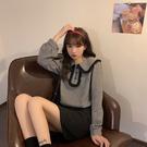 VK精品服飾 韓國風千鳥格娃娃領甜美襯衫長袖上衣