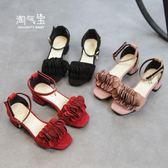 新款女童公主涼鞋高跟韓版夏季中大童魚嘴蝴蝶結學生童鞋 一米陽光